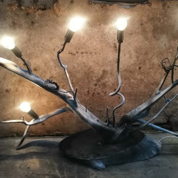 светильник лофт, светильник для стиля лофт, светильник из дерева, светильник из веток, настольный светильник